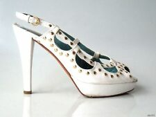 Womens - MOSCHINO - Gold Stud White Leather Strappy Open Toe High Heel Pumps 7.5