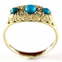 New 14k Yellow Gold Turquoise & Diamond Designer Ring