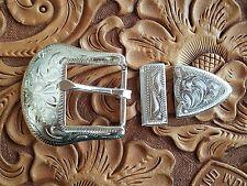 "1"" Vintage Silver Star Cowboy Western 3 piece belt buckle Set New~Never worn TXB"
