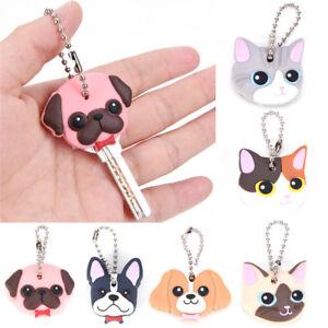 Silicone Puppy Pug Cat Rabbit Key Cover Cap Keychain Key Ring PVC Key Case YJF4