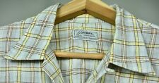 New listing Cool Vintage 50s Grey Yellow Windowpane Plaid Loop Collar Cotton Shirt Large Usa