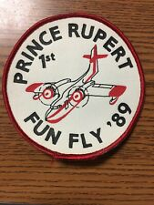New Prince Rupert Fun Fly 1989 Sew On Cloth Patch 1st Place Airplane Canada