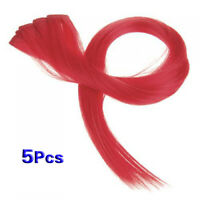 5 Pcs Clip-on In Hair Extensions Straight 23.6 Inch Long Red T1