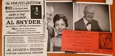 Al Snyder Two Photos with Promotional Ephemera