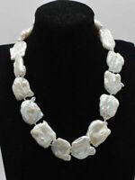 Groß Perlenkette, 20-25 mm weiß Keshi Barock Perle  Halskette, 17-25inch