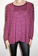SPORTSGIRL Brand Berry Black Stripe Long Sleeve Oversize Top Size S-M BNWT #TR80