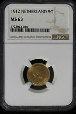 1912 Netherlands. 5 Gulden. Gold. NGC Graded MS-63.