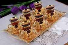 Turkish Tea Set for 6 - Decorated Glasses with Brass Holders Tray Spoons, Gold