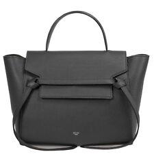 Celine Medium Belt Bag in Black Grained Leather with Gold Hardware