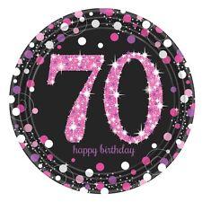 8 x Rosa Celebrazione 70 Anni Piatti di Carta Rosa & Nero 70° Compleanno