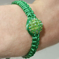 Green Shamballa Crystal Ball Charm Bracelet Wristband Bangle Womens Ladies Girls