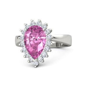 3.50 Ct Natural Pink Sapphire Wedding Ring 950 Platinum Diamond Rings Size 4.5 6
