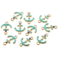 10pcs Evil Eye Anchor Inlaid Beads Connector Charms DIY Bracelet Making 21*14mm