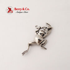Accents Sterling Silver Umbrella Frog Brooch Sapphire