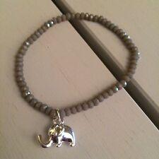 PERLA Di Vetro Grigio Bracciale con Ciondolo Elefante regalo di compleanno.