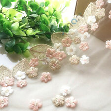1 Yard Vintage Cotton Crochet Lace Trim Pink Flowers Embroidery Ribbon Sewing