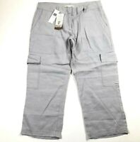 Eileen Fisher Womens 2 Organic Linen Cargo Pants Silver Wide Leg Mid Rise NWT