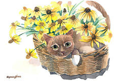 ACEO Limited Edition- A cat with black-eyed Susan, Art print of an ACEO original