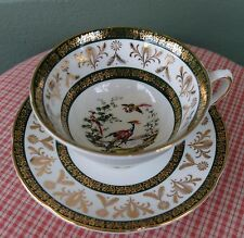 Vintage Cabinet Royal Grafton Bird of Paradise Fancy Gold Gilding  Cup & Saucer