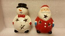 SANTA AND SNOWMAN TEA LIGHT CANDLE HOLDER, CHRISTMAS