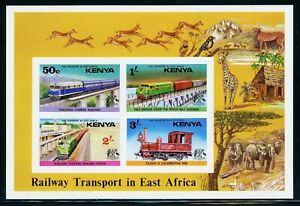 Kenya note after Scott #67a IMPERF MNH S/S Railways in East Africa CV$22+