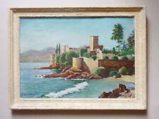 tableau HSC, mer, Chateau de la Napoule Cannes signé G Oustrières années 60