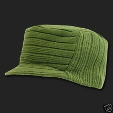 OLIVE GREEN SOLID FLAT TOP VISOR BEANIE JEEP CAP CAPS