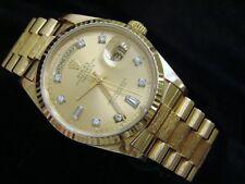 Men Rolex Day-Date President Solid 18k Yellow Gold Watch Bark Diamond Dial 18078