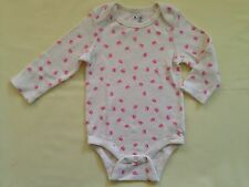 NWOT BABY GAP GIRL'S PINK BOWS BODYSUIT HOT PINK 100% COTTON (6-12 M)