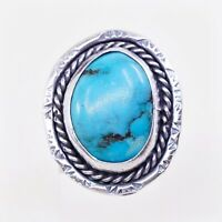 Sz 6 Vtg ELL Navajo Native American Sterling 925 Silver Morenci Turquoise Ring