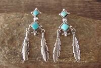 Navajo Indian Sterling Silver Turquoise Feather Post Earrings - Irvin Tsosie