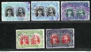 RHODESIA BSAC DOUBLE HEADS TO £1 ALL USED AS FISCALS. FINE LOT. A796
