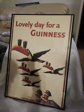 Vintage Lovely Day for Guinness Museum Framed Poster Toucans Cops Police 28x20