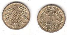 50 Rentenpfennig Messing Münze Deutsches Reich 1923 A, Jäger 310 (114595)