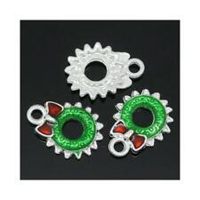 3 x Zilver/Rood Emaille Legering 13 x 18mm Kerstkrans Bedel/Hanger Y09470