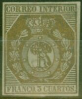Espagne 1853 3ch Bronze edifil #23 Très Fine & Frais Inutilisé Cv 19,000 Euros