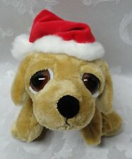 Russ Berrie Vtg PEEPER Yellow Lab Santa Hat Dog Puppy Big Eyes Stuffed Animal
