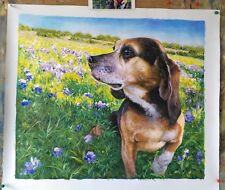 Hand Painted Commission Dog Oil Painting From Photo , Custom Pet Portrait Art