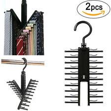 2Pcs Cross X Hangers Tie Belt Rack Organizer Hanger Non-Slip Clips Holder Black