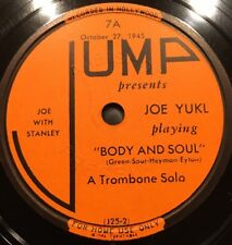 "Rare 78rpm JUMP #7 Joe Yukl on Trombone ""Body and Soul"" Jazz Blues  78s 1944 E++"