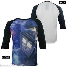 Doctor Who 3/4-Sleeve Raglan TARDIS Vortex Jersey Shirt Baseball Style Tee NEW L
