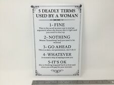 Metal Sign 5 Deadly Terms Used By A Woman 20cm X 30cm