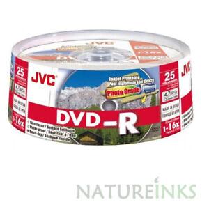 200 JVC Gloss Printable Waterproof DVD-R 16x 4.7GB Blank Discs Taiyo Yuden 120