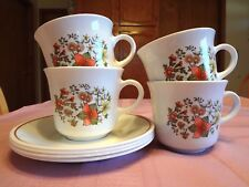 4 SETS Corelle INDIAN SUMMER CUPS & SAUCERS Mugs CORNING Dishes AUTUMN Fall