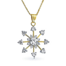 Bling Jewelry Gold Plated Cubic Zirconia Snowflake Pendant Necklace 16in