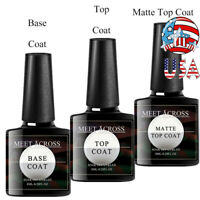 MEET ACROSS 8ML Base Coat Matte No Wipe Top Coat UV Gel Nail Polish Clear Tool