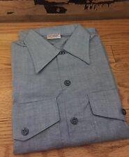 Vintage 1970s Vietnam War Era Navshirt US Navy Chambray Workwear Uniform Shirt.