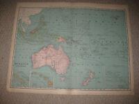 HUGE FOLIO SIZE ANTIQUE 1898 OCEANIA MALAYSIA HAWAII POLYNESIA AUSTRALIA MAP NR