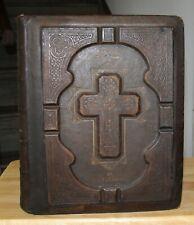 "c1860 antique family Catholic Bible Douay Rheims 13 5/8"" tall"