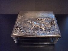 Art Nouveau 1906 WMF Cut Crystal Glass Box with Silverplated Lid - Hunting Dogs